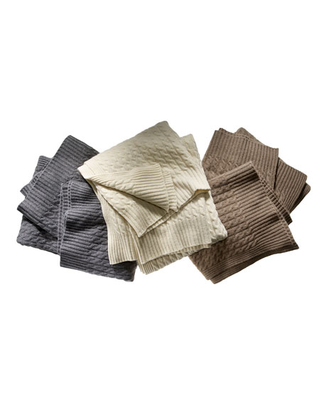 Classic Cable-Knit 6-Ply Cashmere Throw Blanket