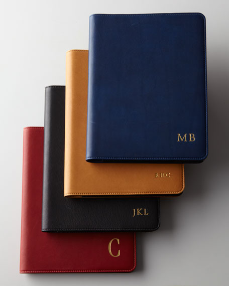 """9"""" Leather-Bound Notebook, Personalized"""