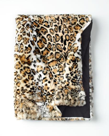 Jaguar-Print Fur Throw