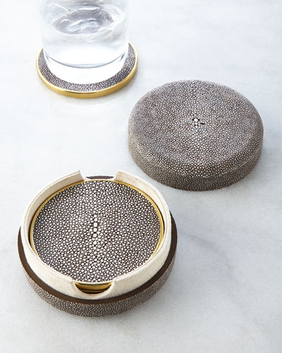 Four Shagreen Coasters