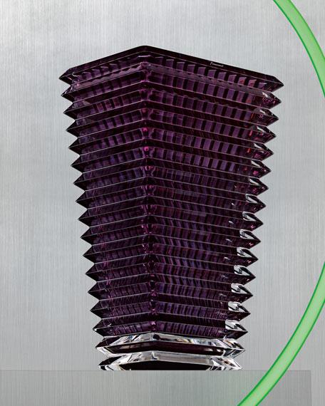 Baccarat Large Purple Rectangular Eye Vase