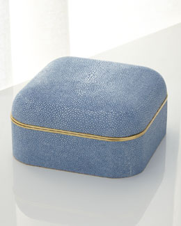 Blue Shagreen Square Box