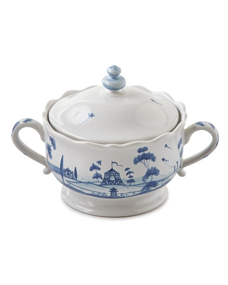 Country Estate Delft Blue Lidded Sugar/Jam Bowl Main House