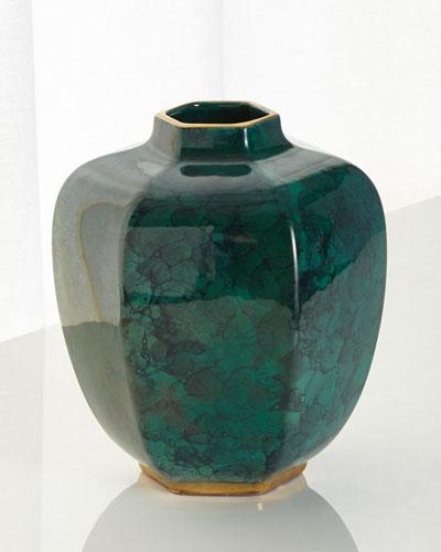 Malachite Green Geo Vase