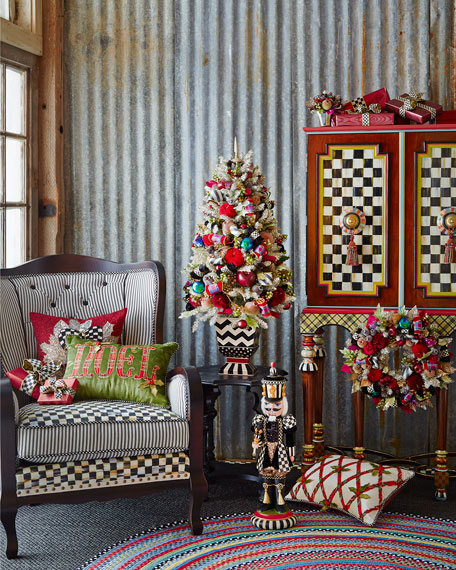Mackenzie Childs Christmas.Holiday Frost Tabletop Christmas Tree