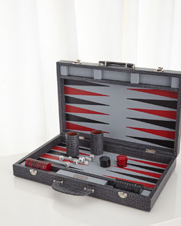 Gray Crocodile Backgammon Set