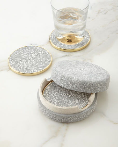 AERIN Dove Faux-Shagreen Coasters