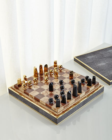 Chocolate Faux-Shagreen Chess Set