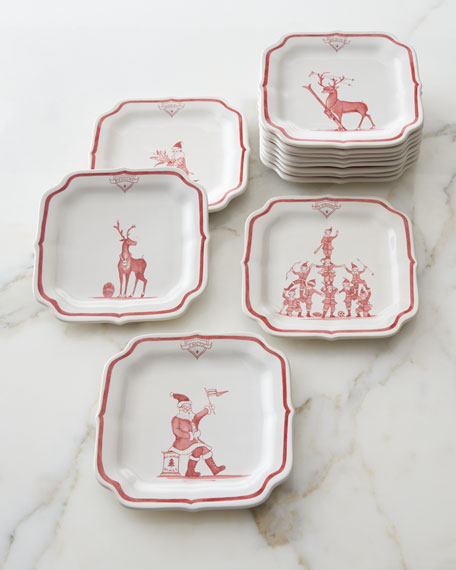 Country Estate Ruby Reindeer Games Party Plates, 12-Piece Set