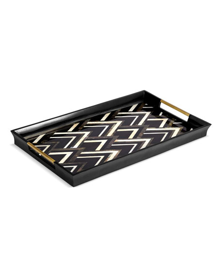Large Deco Chevron Tray, Black