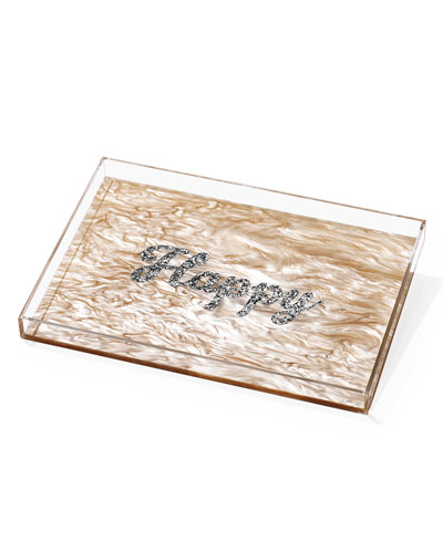 Happy Marbled Acrylic Tray, Neutral