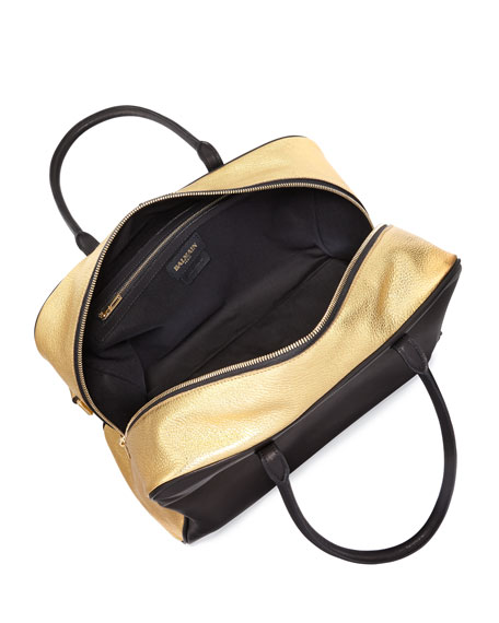 Leather Satchel Bag, Black/Gold