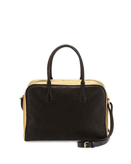 Balmain Leather Satchel Bag, Black/Gold