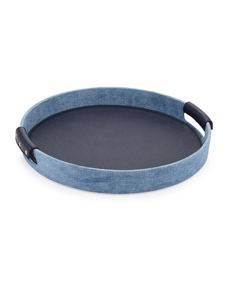 Round Leather Eden Tray, Blue