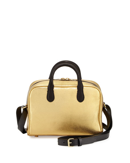 Balmain Metallic Leather Satchel Bag, Gold