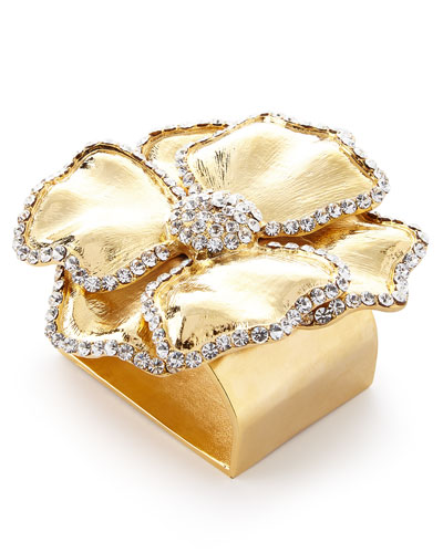 Swarovski® Crystal Flower Napkin Ring, Set of Four, Golden