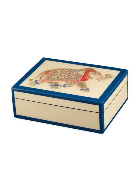 Hand-Painted Elephant Box, Cream