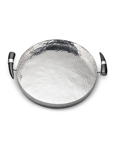 Orion Round Tray with Horn Handles