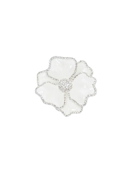 Floral Crystal Napkin Rings, Set of Four, White