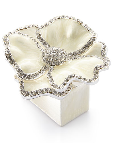 Floral Crystal Napkin Rings  Set of Four  White