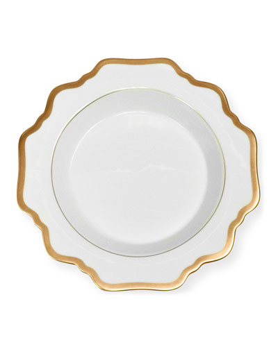 Antiqued White Soup Plate