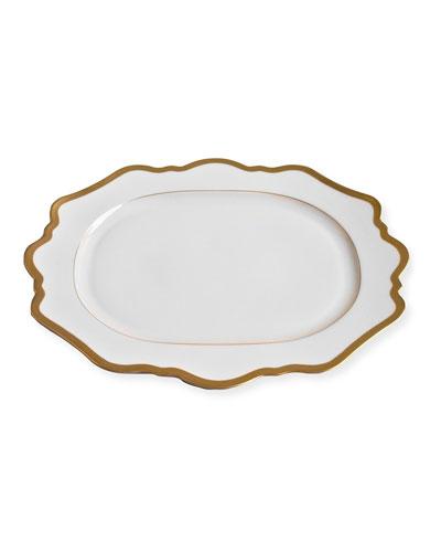 Antiqued White Oval Platter