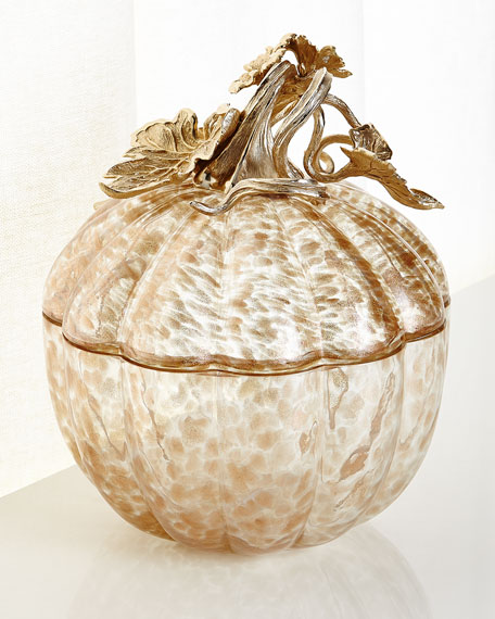 Large Leaf and Vine Gilded Glass Jar