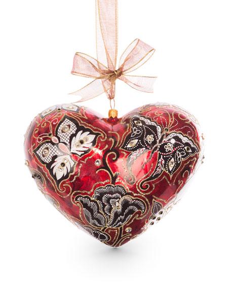 Jay Strongwater Butterfly Nouveau Artisan Heart Ornament