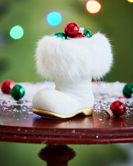 White Santa Boot Collectible