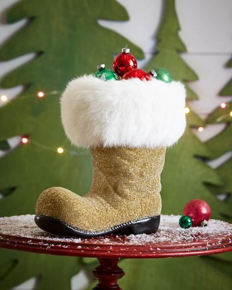 Golden Santa Boot Collectible, Extra Large