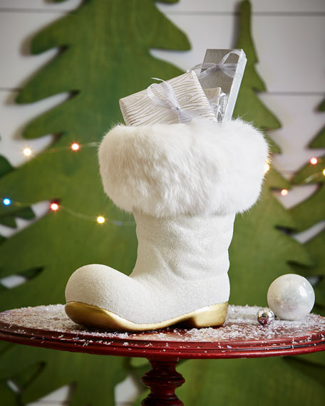 White Santa Boot Collectible, Extra Large