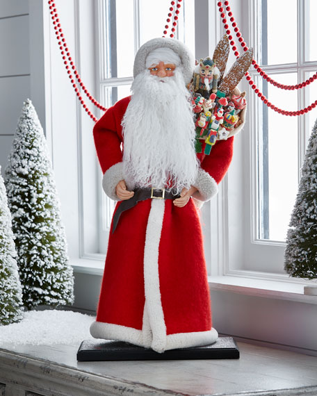 """""""Vintage Santa"""" with Toy Bag Collectible, Extra Large"""