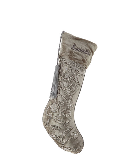 White & Silver Collection Velvet Stocking