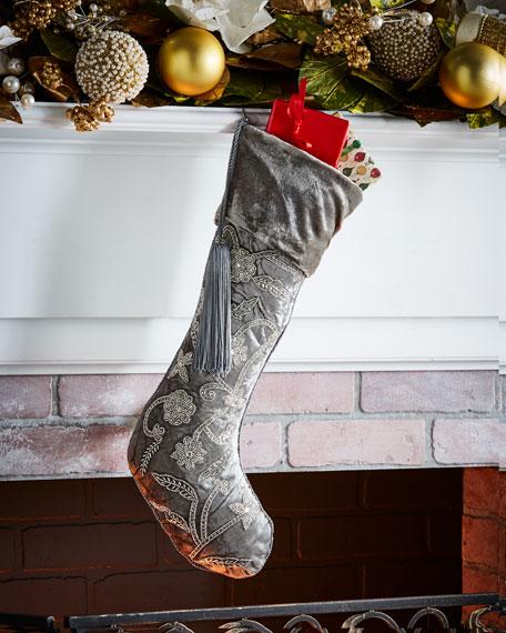 White & Silver Collection Velvet Stocking