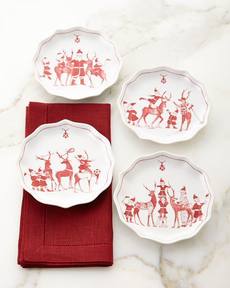 Country Estate Reindeer Games Tidbit Plates, Set of 4