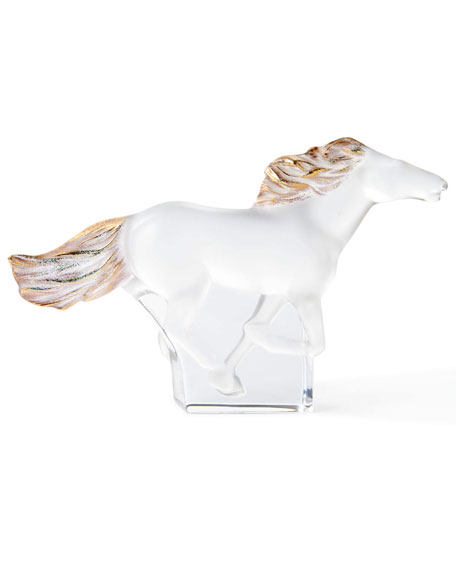 Lalique Kazak Standing Horse with Gold Stamping