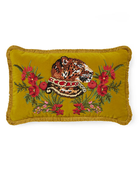 Oblong Velvet Tiger Cushion