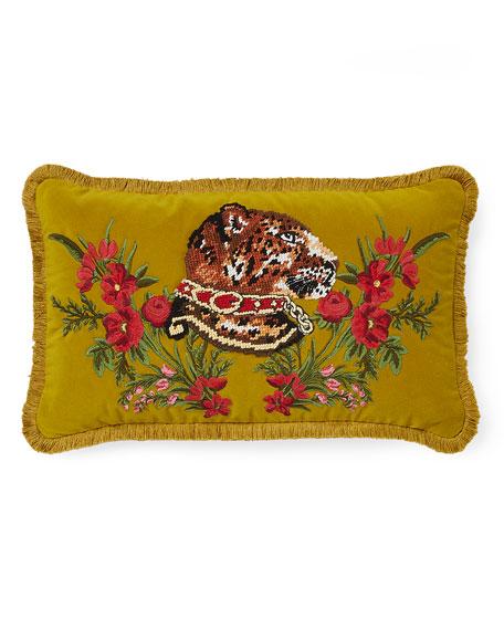Oblong Velvet Tiger Cushion
