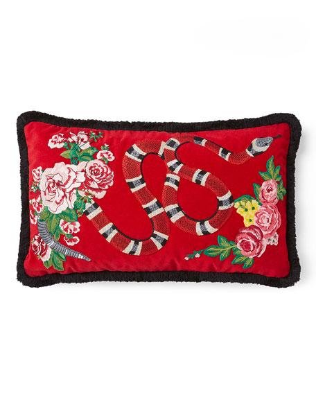 Oblong Velvet Snake Cushion