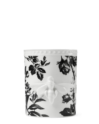 Herbarium Porcelain Candle, Black Pattern