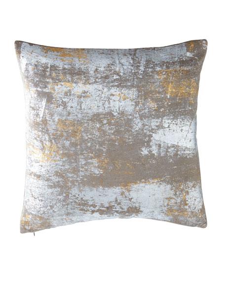 "Distressed Metallic Velvet Pillow, 20"" Square"