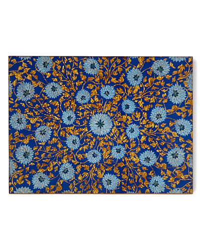 Flower Painted Mirror Placemat  Blue/Gold