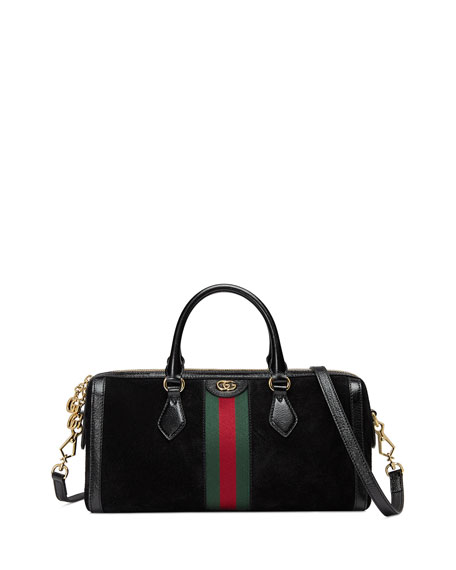 Black Stripe Ophidia Suede And Leather Boston Bag
