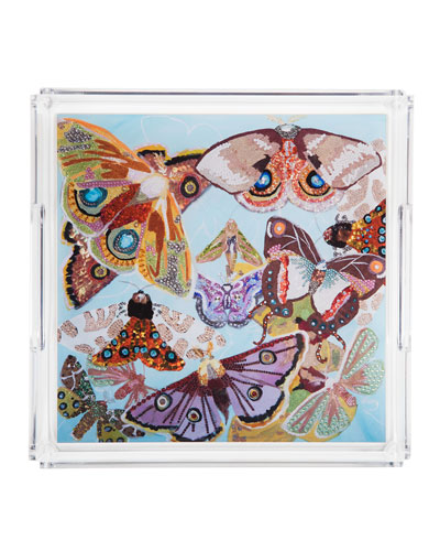 Multi-Butterfly Square Acrylic Tray