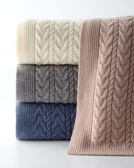 Sofia Cashmere Twisted Cable Throw Blanket, 50
