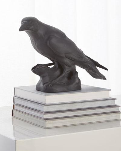 Black Matte Raven Sculpture