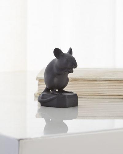 Black Matte Mouse Sculpture