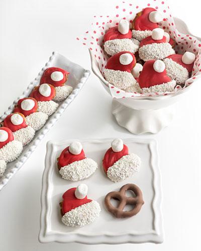 Santa Hat Belgian Chocolate Covered Mini Pretzels
