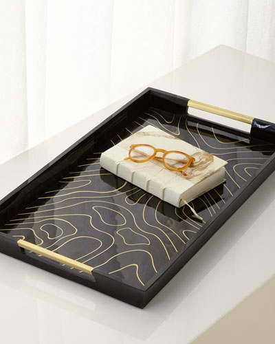 Rectangular Wood and Brass Tray