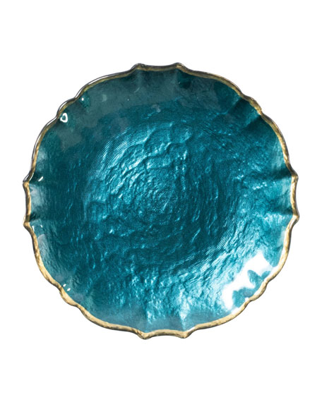 Pastel Glass Salad Plate, Teal